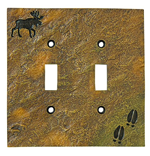 Cover Switch Moose Light (Big Sky Carvers 30170445 Moose and Tracks Double Switch Plate)