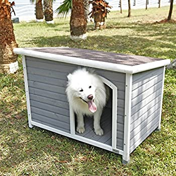 "Petsfit 45.6"" X 30.9"" X 32.1"" Wooden Dog House, Dog House Outdoor"