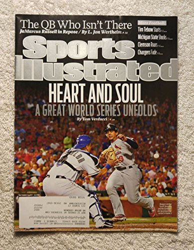 Jon Jay & Yorvit Torrealba - St. Louis Cardinals vs Texas Rangers - 2011 World Series - Sports Illustrated - October 31, 2011 - SI