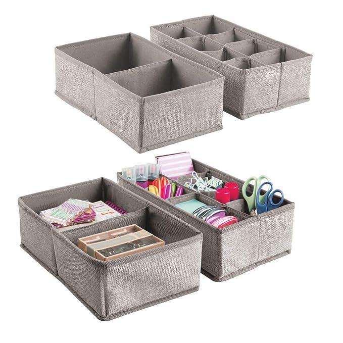 mDesign Juego de 4 cajas organizadoras grandes con un total de 20 divisiones ? Organizador de cajones para bolígrafos, post-it, sobres y más ?