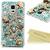 Note 4 Case,Samsung Galaxy Note 4 Case - Mavis's Diary 3D Handmade Luxury Blue Ocean Series Full Diamonds Bling Crystal Golden Anchor Starfish Cute Shells Design Clear Case Hard PC Cover