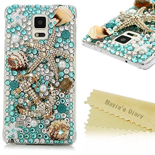 Note 4 Case,Samsung Galaxy Note 4 Case - Mavis's Diary 3D Handmade Luxury Blue Ocean Series Full Diamonds Bling Crystal Golden Anchor Starfish Cute Shells Design Clear Case Hard PC Cover