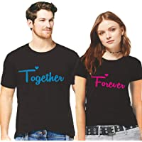 Hangout Hub Couple Tshirts Together Forever Printed Matching Tees Valentine Gift for Couples/Lovers/Men Women