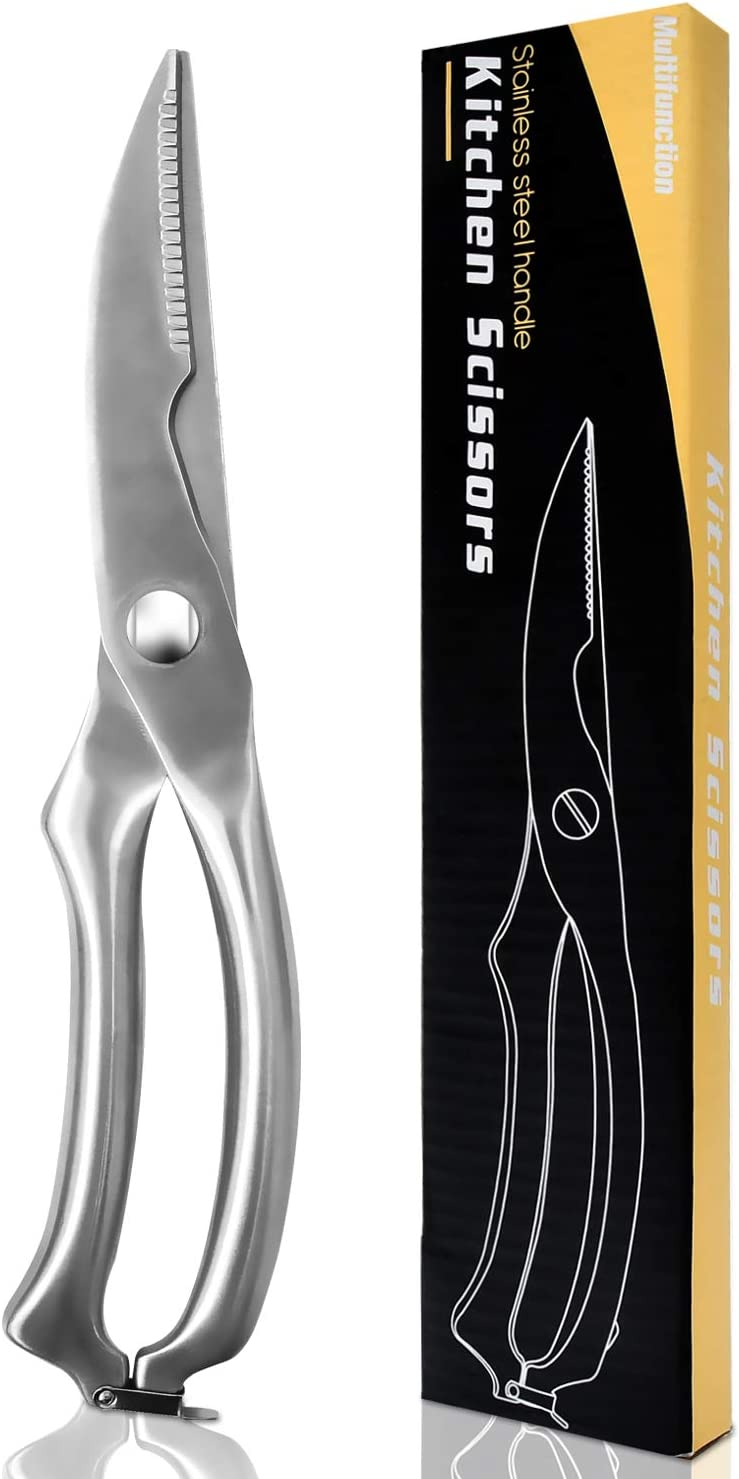 Kitchen Scissors Stainless Steel Kitchen Shears for Cutting Chicken, Poultry, Seafood, Vegetables, Bone, Meat With Finest Sharp Blade and Safety Clip, All metal Food Shears