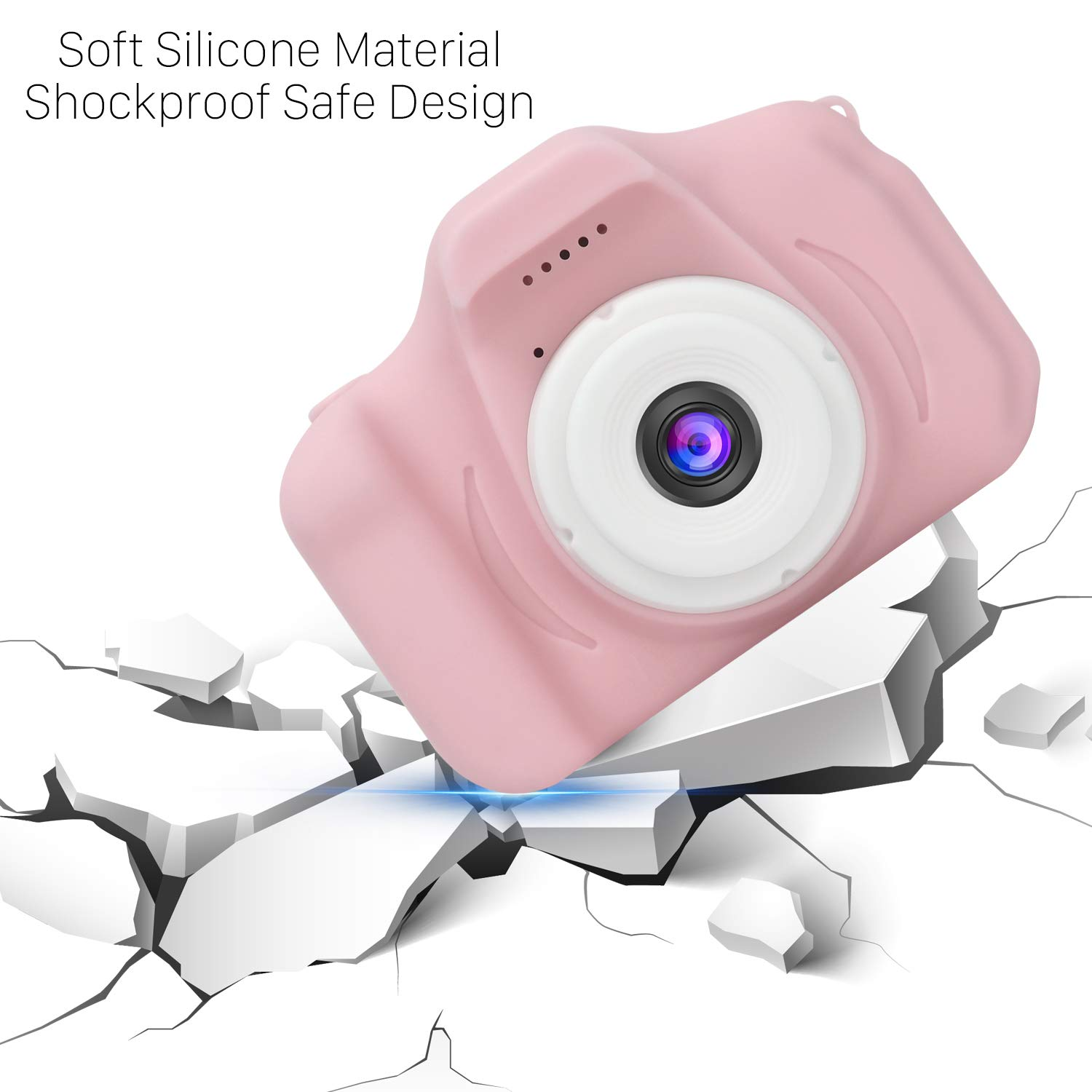 DDGG Kids Digital Camera for Girls Age 3-10,Toddler Cameras Child Camcorder Mini Cartoon Pink Rechargeable Camera Shockproof 8MP HD Children Video Record Camera (16GB Memory Card Included) by DDGG (Image #7)