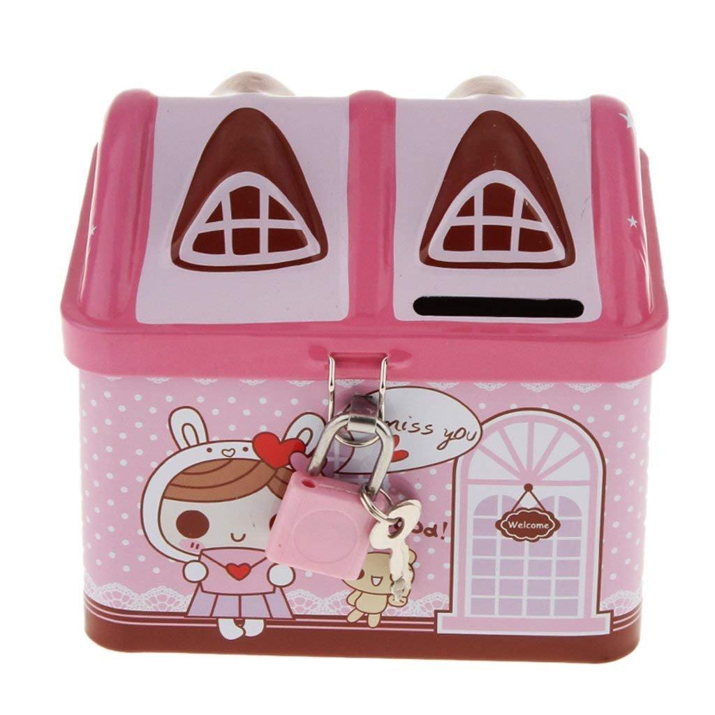 Flee Pink House Coin Box Piggy Bank,Metal Money Bank Savings Jar,Include Lock and Keys Tithing Fun for Kids Girls Boys