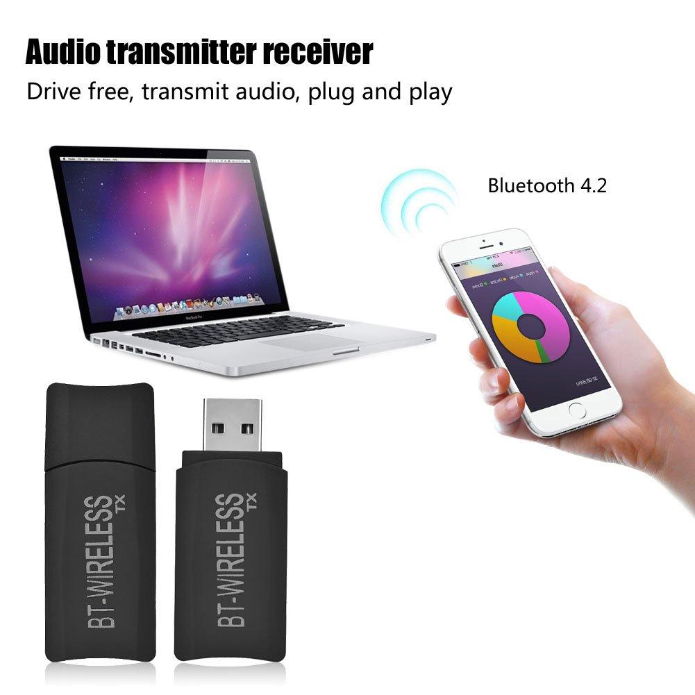 Richer-R 2 en 1 Receptor y Transmisor Bluetooth 4.2,USB inal/ámbrico Transmisor y Receptor,Adaptador de 3.5mm Audio Est/éreo para TV//iPod//Reproductor de CD//PC//MP3//MP4//Altavoz//Radio y Amplificador