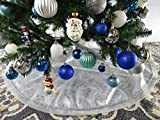 47.2'' White Fabric With Silver Glitter Christmas Tree Skirt - White