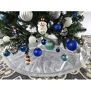 472 White Fabric With Silver Glitter Christmas Tree Skirt