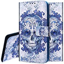 PHEZEN Case for Nokia 3.1 2018 Wallet Case,3D Bling PU Leather Folio Flip Case Full Body Protective Phone Case Cover with Kickstand Credit Card Wrist Strap for Nokia 3.1 2018 - Blue Skull