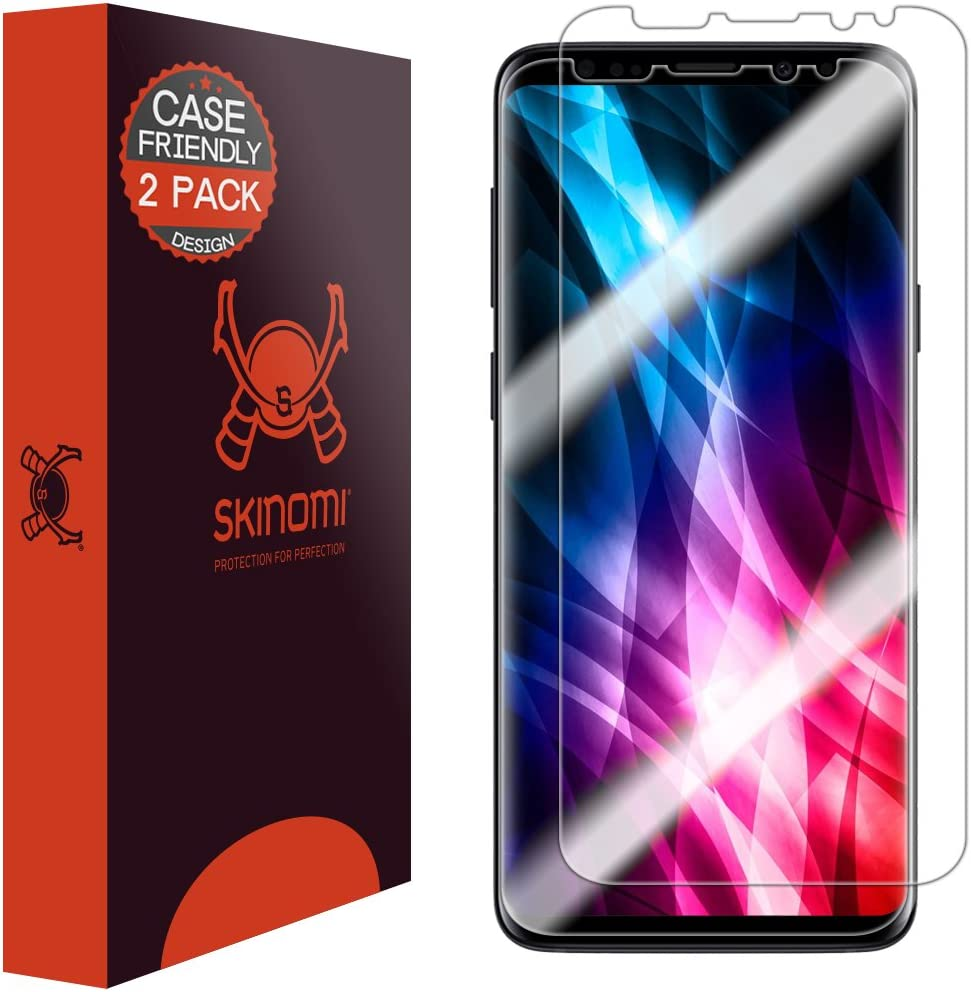Skinomi TechSkin [2-Pack] (Case Compatible) Clear Screen Protector for Samsung Galaxy S9 Anti-Bubble HD TPU Film