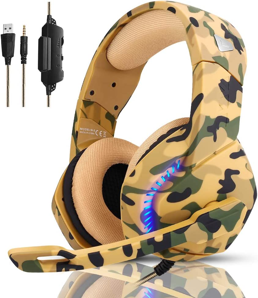 PS4 Gaming Headset with 7.1 Surround Sound, Xbox One Headset with Noise Canceling Mic & LED Light, PHOINIKAS H3 Over Ear Headphones, Compatible with Nintendo Switch, PC, PS4, Xbox One, Laptop (Camo)