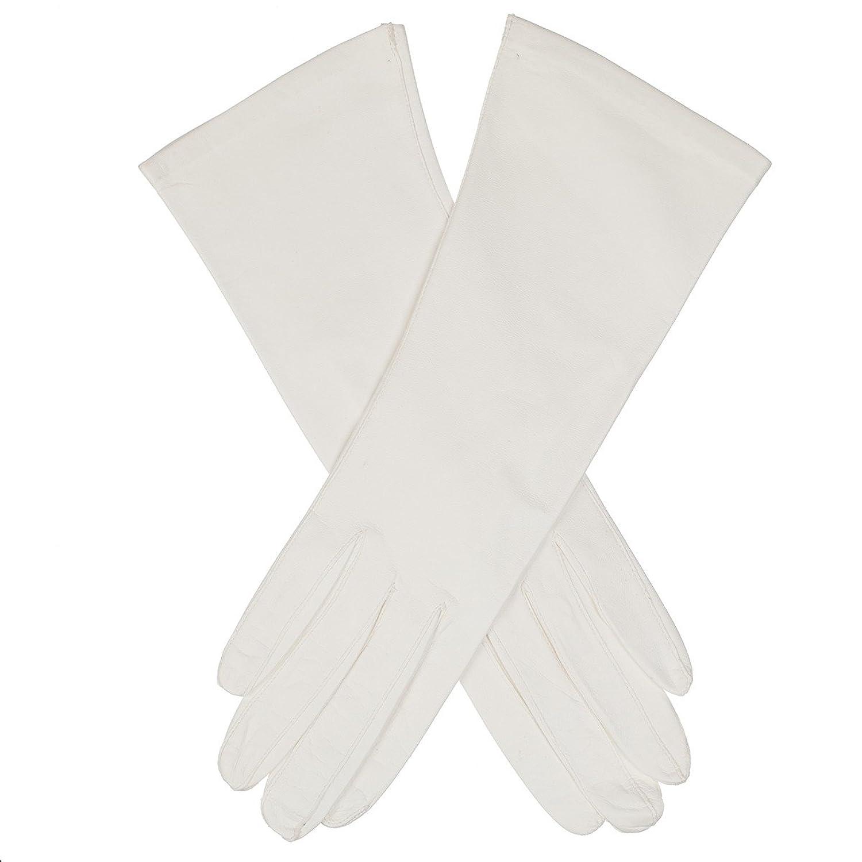 Lundorf Royal B Damen Handschuhe Leder – 30 cm Lang - Weiß – Für Gala, Hochzeit, Party etc.