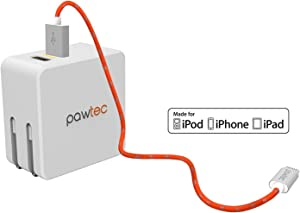 Pawtec Dual 2-Port USB Wall Charger 5V 4.2A / 21W with Apple MFi Certified Premium Lightning to USB Charge and Sync Cable (White/Orange)