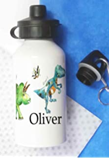 148a0a3330 Personalised Kids Drinks Water Bottle Red Dinosaur (personalised ...