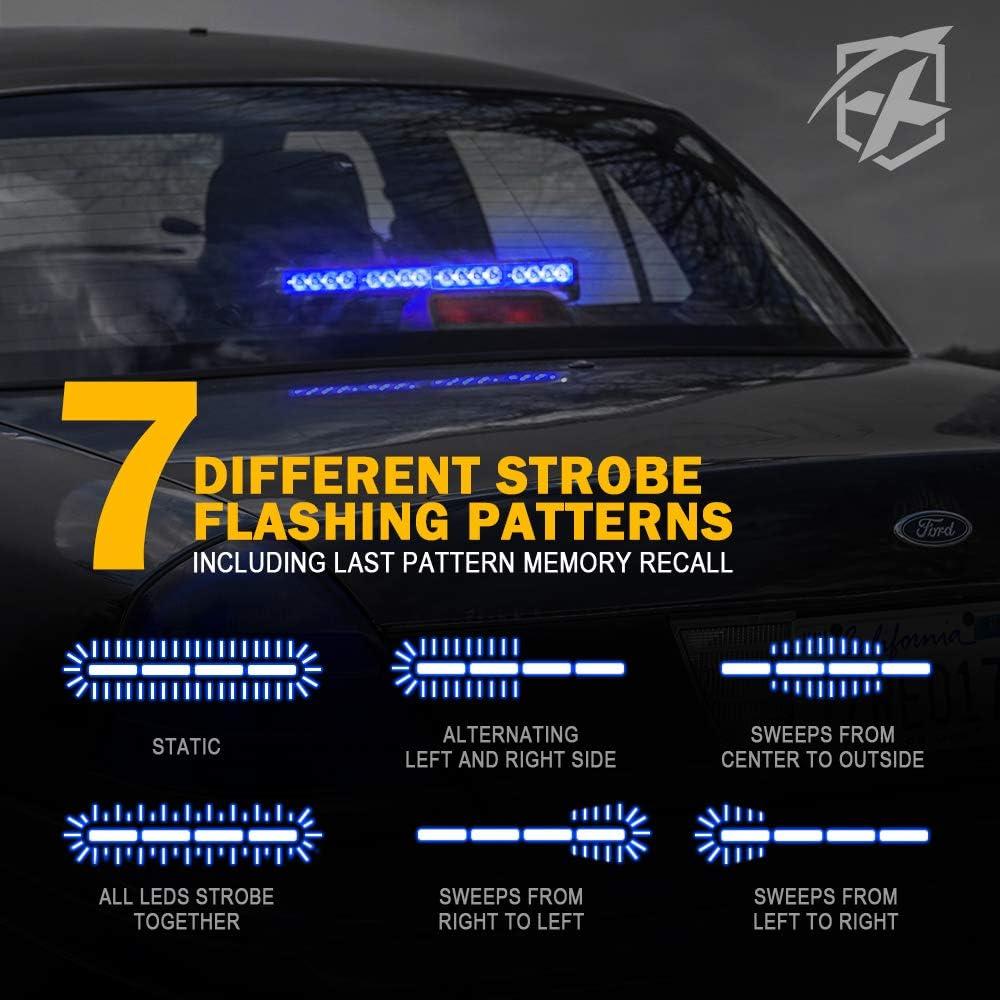 Xprite 18 Inch 16 LED White /& Red Emergency Traffic Advisor Vehicle Strobe Light Bar w// 7 Warning Flashing Modes for Trucks Vehicles Cars
