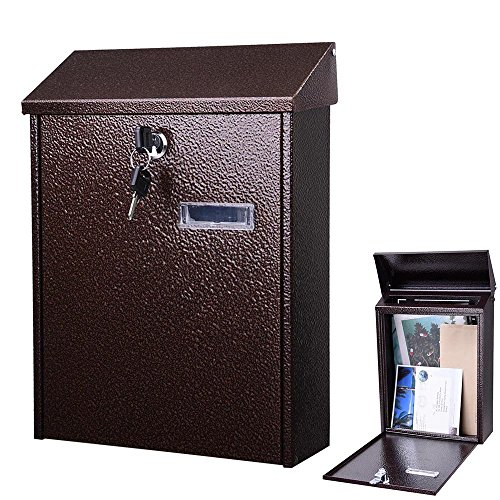 Post Door Office Box (Yescom Wall Mount Steel Mail Box Lockable Letterbox w/ Retrieval Door & 2 Keys Home Office Post Security Outdoor)