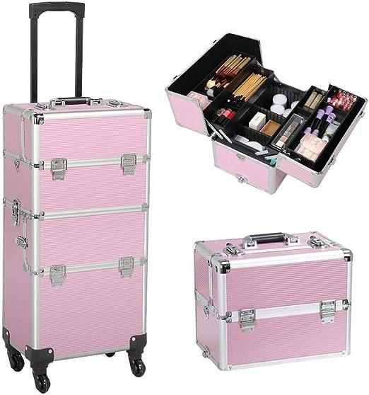 Estuche de maquillaje profesional con ruedas de JYZ, maleta de aluminio para maquillaje con ruedas, organizador de cosméticos, bolsa de viaje, soporte con divisor ajustable y cerradura de llave, color rosa: Amazon.es: