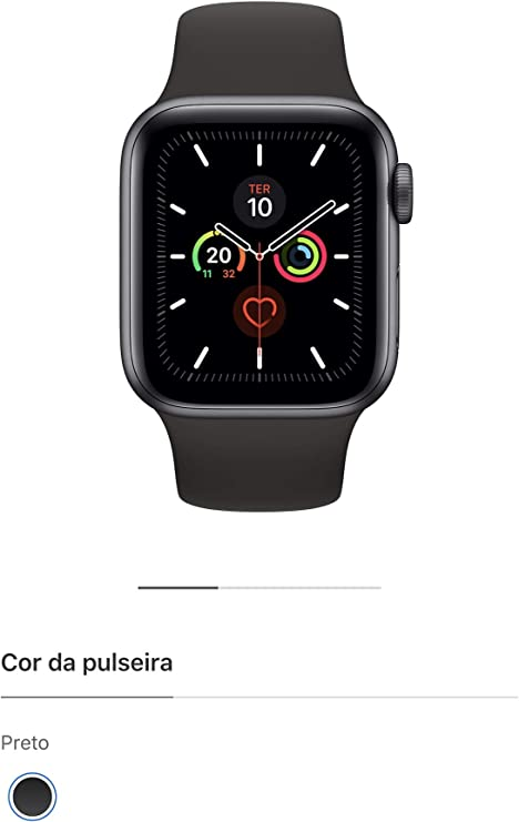 Apple Watch Series 5 Gps, 44 mm, Alumínio Cinza Espacial, Pulseira Esportiva Preto e Fecho Clássico - Mwvf2bz/a