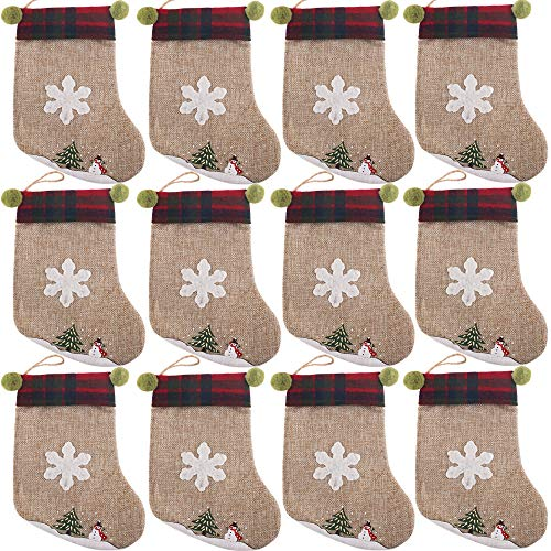 PartyBus 8 Inch Mini Christmas Stockings 12 Pack, Small Rustic Burlap Plaid Green Ears Xmas Tree Decorations, Gift Card Holders Cash Bags Holiday Treats for Family Coworkers Neighbors Kids Dogs Cats (Gift Tags Felt)