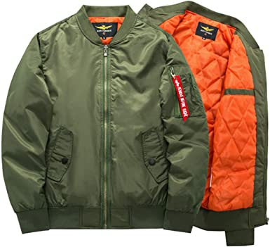 Jakflyzel Chaqueta De Aviador Para Hombre Con Diseño De Aviador Color Verde Militar Amazon Es Ropa Y Accesorios