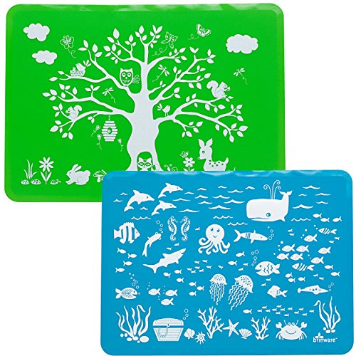 (Brinware/Forest & Sea Friends Slip-Resistant Silicone Placemat Set)