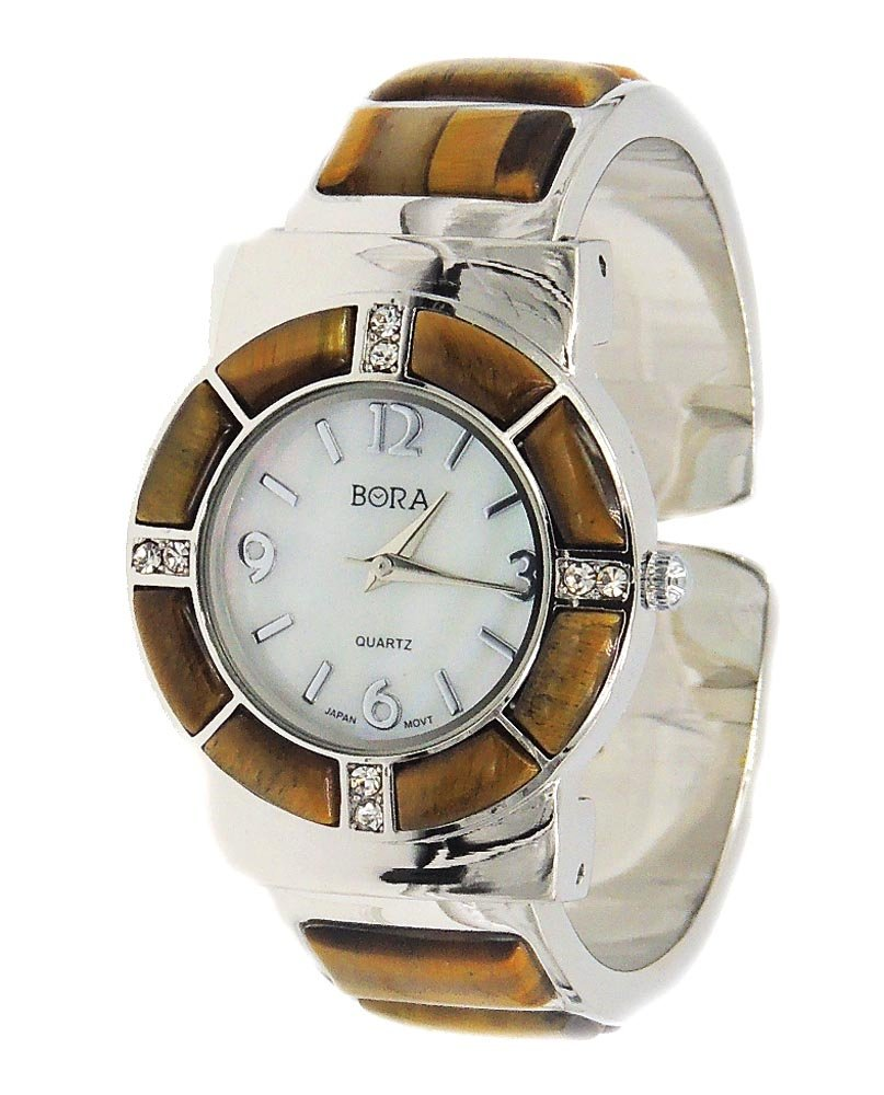 Tiger Eyes Watch Bangle Cuff Inlay Style with Crystal Accents