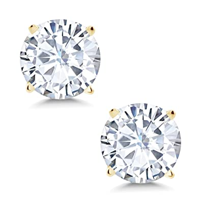 6d189b69b Amazon.com: Charles & Colvard 6mm 1.60cttw DEW White Created Moissanite 14K  Yellow Gold Friction Back Round 4 Prong Stud Earrings: Jewelry
