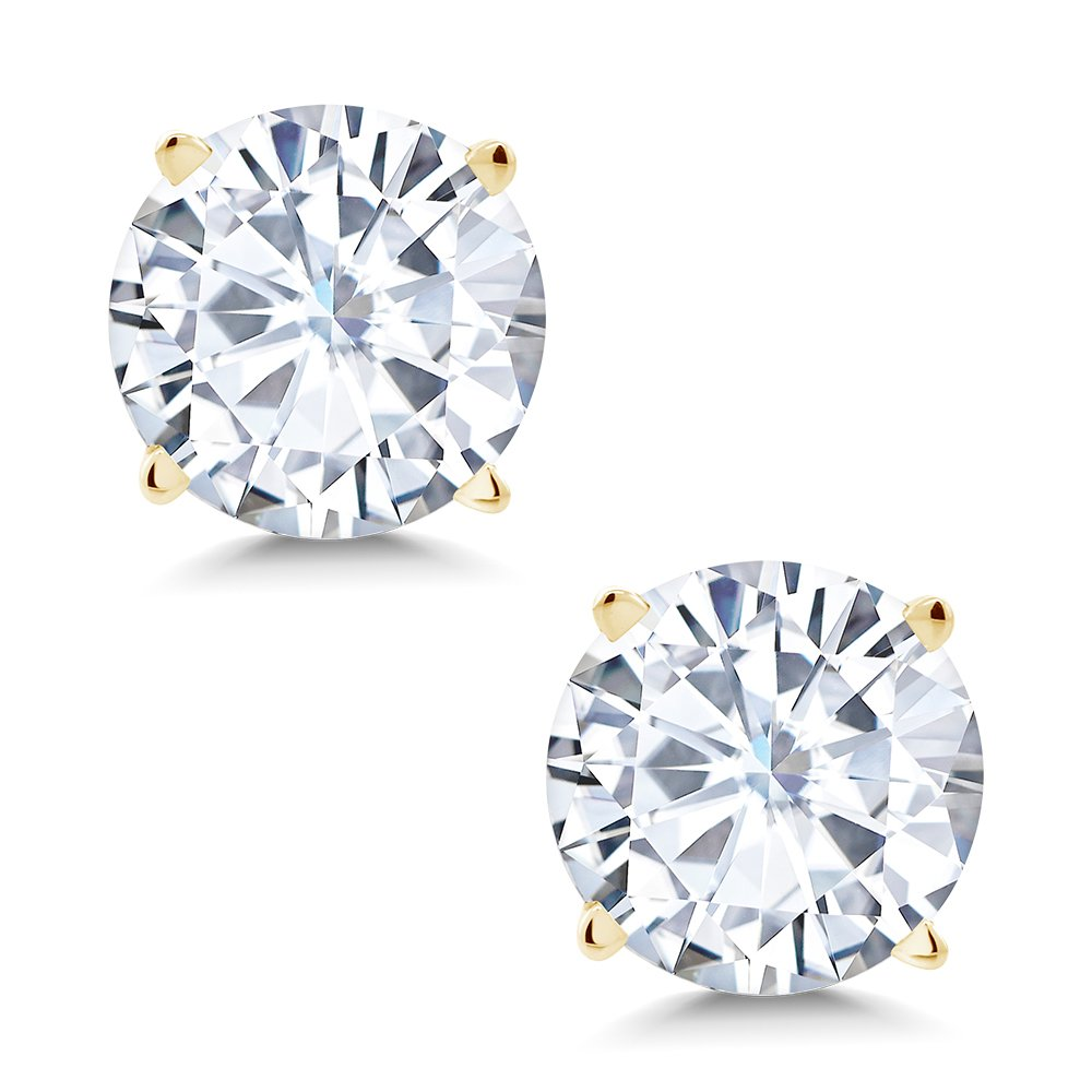 Charles & Colvard 6mm VG Moissanite 1.50 cttw 14k Yellow Gold Friction Back Round 4 Prong Stud Earrings (1.36 cttw Moissanite, White Color, SI2-100% Eye Clean)