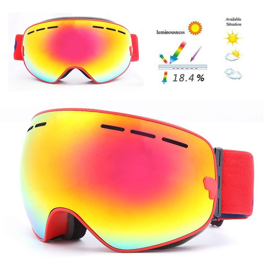 rouge  Lunettes de Ski Double lentille Sports de Prougeection Unisexe Chaud Anti-buée 100% UV400 Hiver Lunettes de Prougeection,rouge