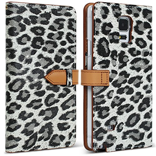 Galaxy Note 4 Case, DesignSkin Wetherby [Premium Snap] - Genuine Cowhide Premium Leather Handcrafted Unique Luxurious Design ID Credit Card Storage Holder Banknote Slot Wallet Case (Snow Leopard)