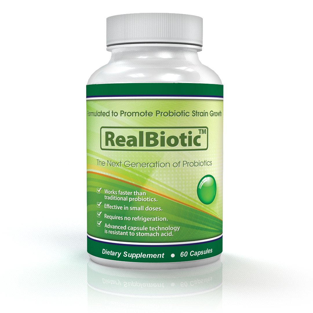 RealBiotic(TM) ~ Probiotic Prebiotic Intestinal Health Formula ~ Delayed Release Vegan Certified Capsules for Better Delivery than Coated Pearls ~ Fructooligosaccharides Free ~ 60 Day Supply