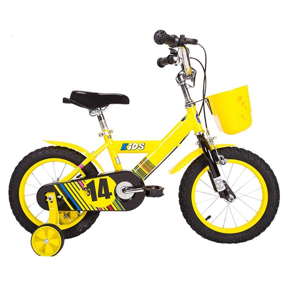 YANGFEI 子ども用自転車 子供用自転車ベビー用ベビーカー12/14/16/inch 3-6-8-10歳少女の少年の自転車カラフルな多色 212歳 B07DWTBMWZ 14 inch|イエロー いえろ゜ イエロー いえろ゜ 14 inch