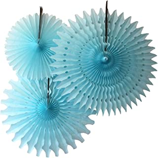 product image for Set of 3 Honeycomb Fans, Light Blue (13-21 Inch)