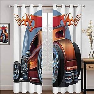 GUUVOR Cars Wear-Resistant Color Curtain Cartoon Hot Rod Antique Customized Classical American Engine Nostalgia Revival 2 Panel Sets W96 x L72 Inch Orange Blue Black