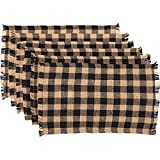country kitchen table decor VHC Brands Classic Country Primitive Tabletop & Kitchen - Burlap Black Check Black Fringed Placemat Set of 6