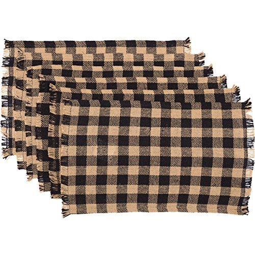 VHC Brands Classic Country Primitive Tabletop & Kitchen - Burlap Black Check Black Fringed Placemat Set of 6 (Country Place)