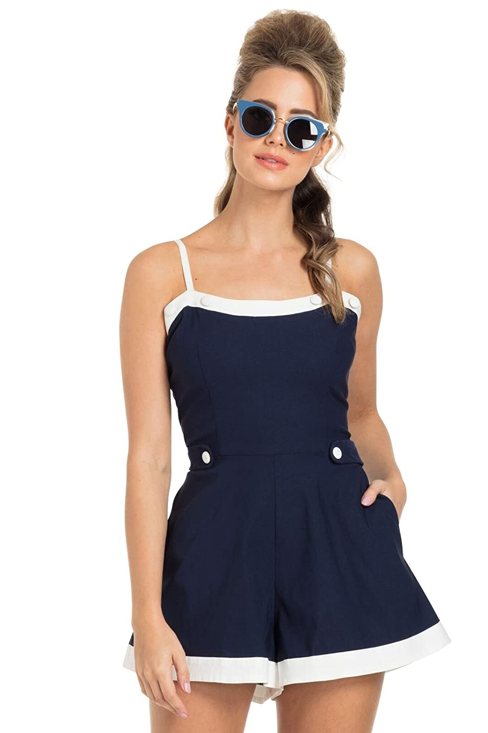 Vintage Cruise Outfits, Vacation Clothing Voodoo Vixen Nicola Nautical Retro 50s Playsuit $54.99 AT vintagedancer.com