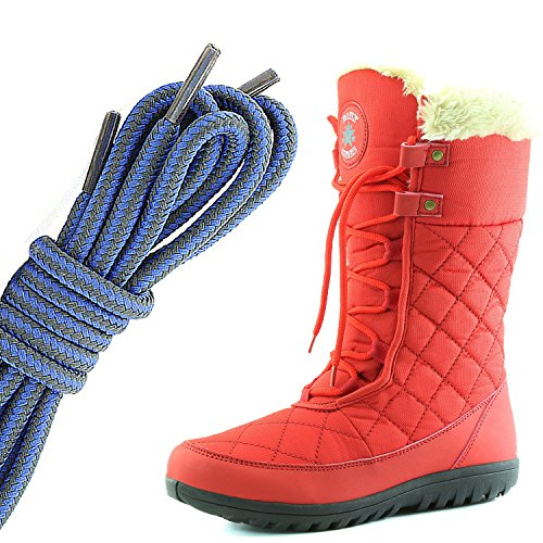 DailyShoes Womens Comfort Round Toe Mid Calf Flat Ankle High Eskimo Winter Fur Snow Boots, Royal Blue Dark Grey Red
