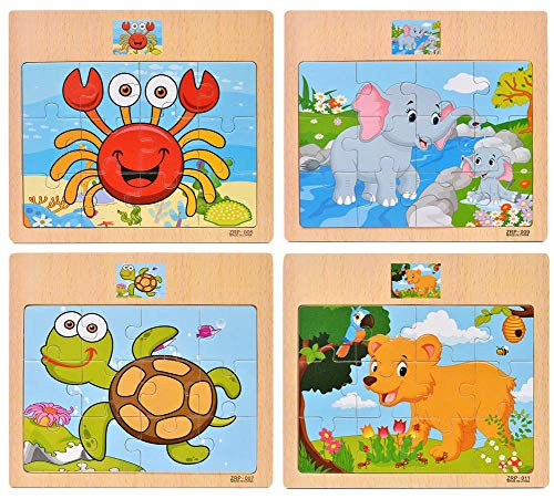 Wooden Jigsaw Puzzles Set for Kids 2-5 Years 12 Piece Colorful Wooden Educational Animal Puzzles for Toddler Children Learning Educational Puzzles Toys for Boys and Girls (4 Puzzles) (12 Piece Wooden Puzzle)