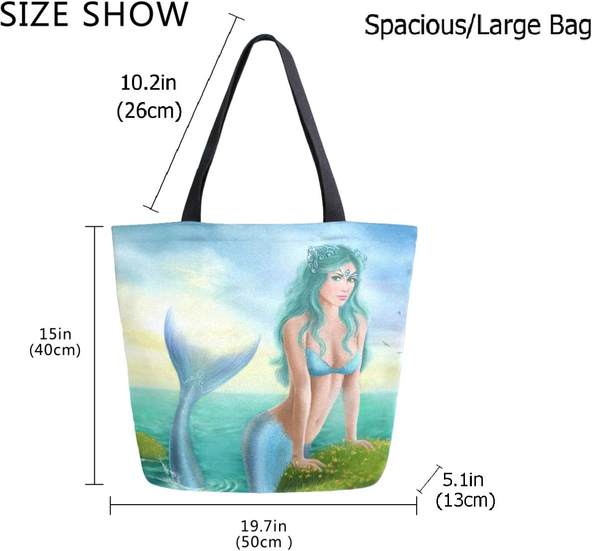 Fantasy Travel Duffel Bag Weekender Bag INTERESTPRINT Beautiful Mermaid Sea
