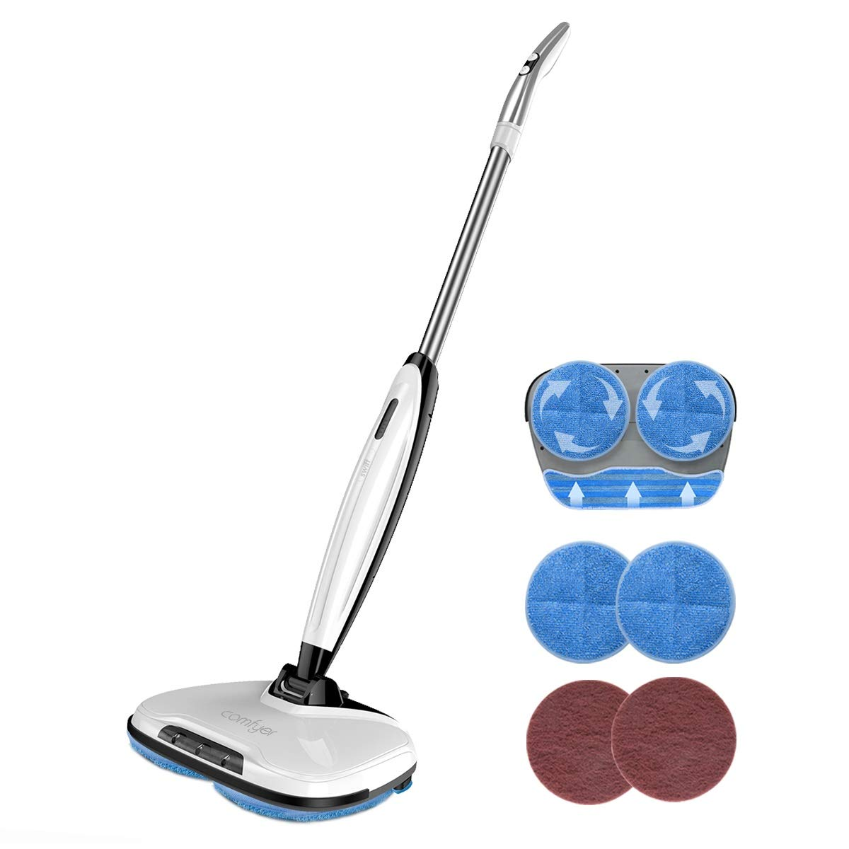 Comfyer Swift Cordless Electric Spin Mop, Floor Cleaner Mop, 2 in 1 Power Scrubber Brush & Polisher with Microfiber Reusable Pads and Water Spray for Hard Wood, Tile, Vinyl, Marble, Laminate Floor by Comfyer