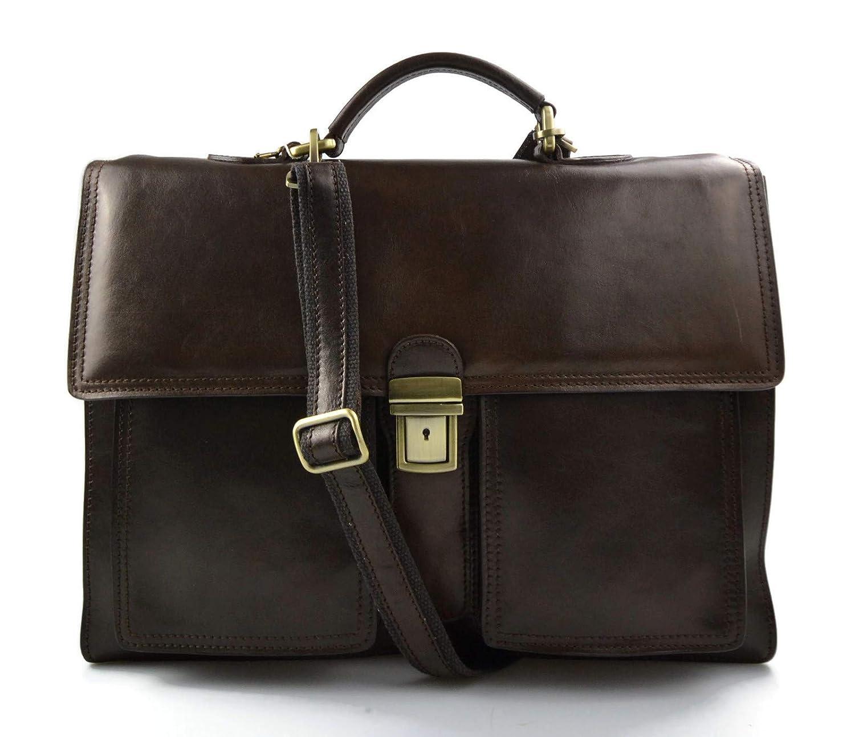 Leather briefcase business bag conference bag satchel office