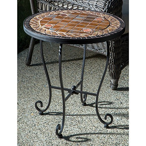 Dublin Iron 20-inch Round Ceramic Mosaic Outdoor Tile Top and Base Side Table
