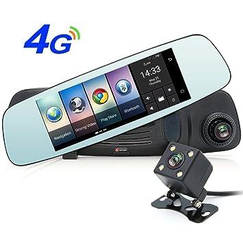 """Junsun 7"""" Espejo Retrovisor 4G para Coche GPS Navegador de la Rociada CAM HD 1080P"""