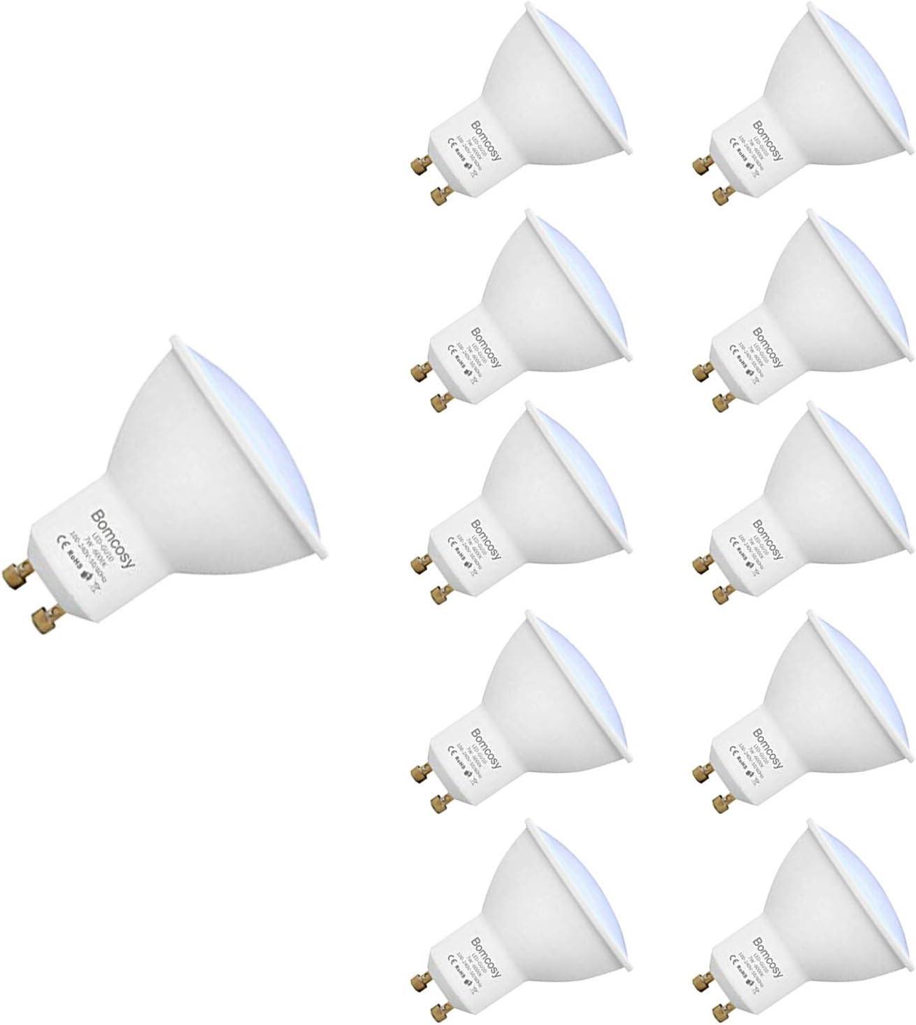 Bombillas LED, GU10 7w Equivalente 60W Halógena, 6000K Blanco Frío, 600Lm, 120 Degree ángulo AC 220-240V, Pack de 10