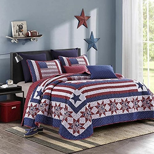 Americana Quilt & Sham Set + Matching Quilt Throw (Queen / Full)