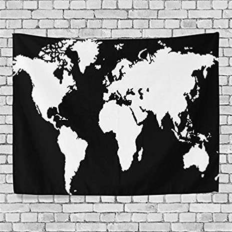 Amazon artpanda black and white world map tapestry blacklight artpanda black and white world map tapestry blacklight abstract wall hanging art for dorm room home gumiabroncs Images