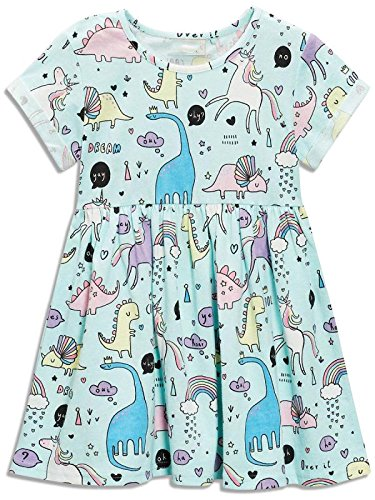 Price comparison product image Bumeex Little Girls Dinosaur Tunic Short Sleeve Summer Casual Dress Size 2t(1t-2t)