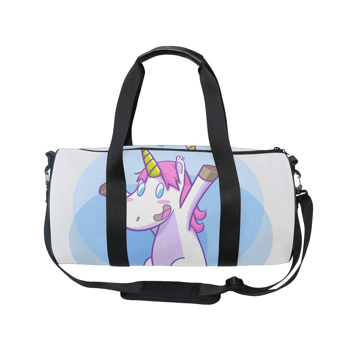 WIHVE Gym Duffel Bag Unicorn Smile Sitting Hooray Sports Lightweight Canvas Travel Luggage Bag
